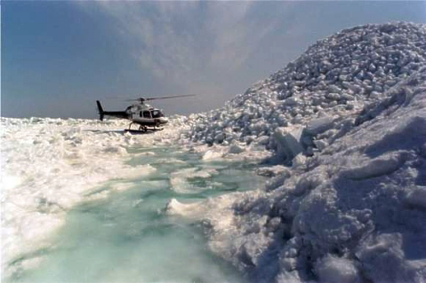 Finnish ice service investigating hummock ice (photo uncredited, http://www.fimr.fi)