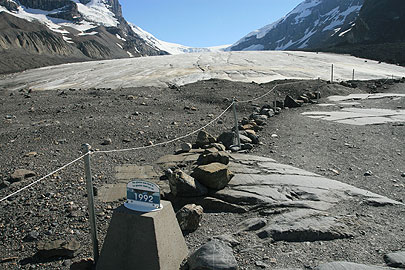 Markers show the dramatic retreat of the Athabasca Glacier, photo Judd Patterson in a Feb 08 Toronto Star article