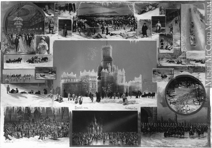 The Notman Studio's collage of the 1884 Winter Festival spectacles