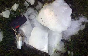 "One of the ice ""cannonballs"" that fell on Delta, B.C., May 22-09 (photographer unidentified)"