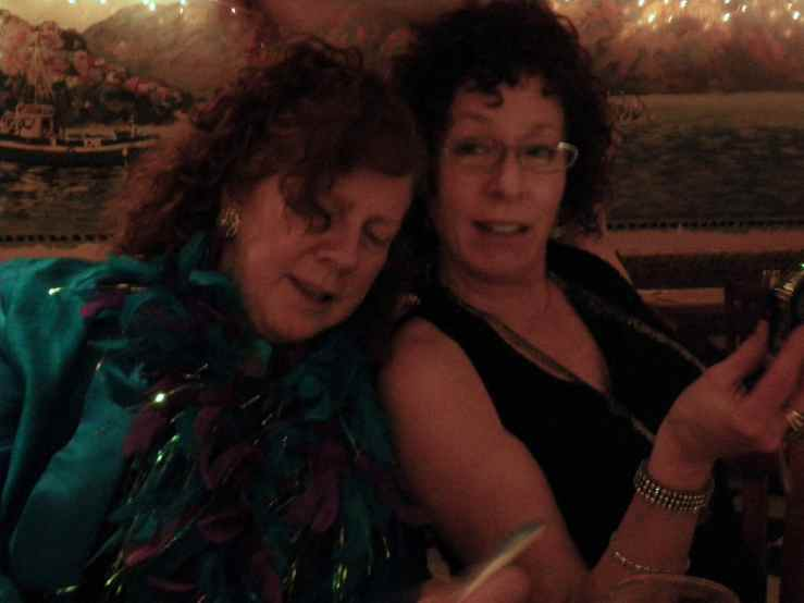 Shelley (R) celebrating New Year's Eve 2009 with filmmaker Lulu Keating (Red Snapper Films)