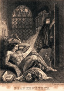 Theodore Von Holst, steel engraving, frontispiece to a 1931 edition of Frankenstein published by Colburn and Bentley, London